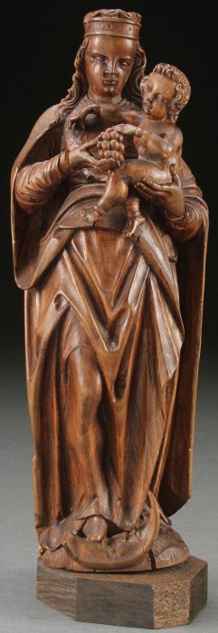 17th Century Flemish Carved Wood Madonna