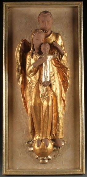 Signed Gilt Terra Cotta Holy Family
