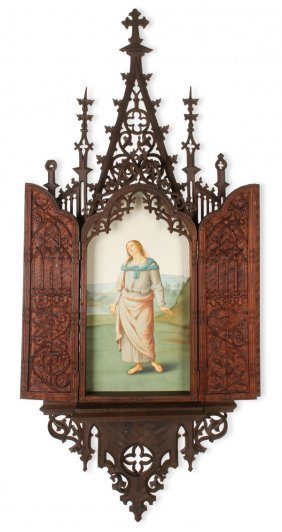 Exceptional Carved Gothic Triptych 19th C