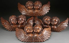 Group Of Large Carved Winged Cherubs