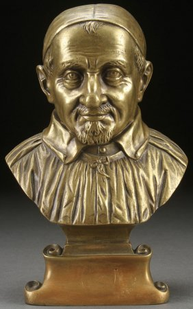 French Bronze Bust St. Vincent, Signed