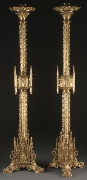 Gigantic Gilt Bronze Gothic Candle Stands