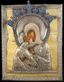 VERY FINE RUSSIAN ICON SILVER AND ENAMEL C. 1810