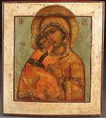 RUSSIAN ICON OF THE VIRGIN, 18TH C