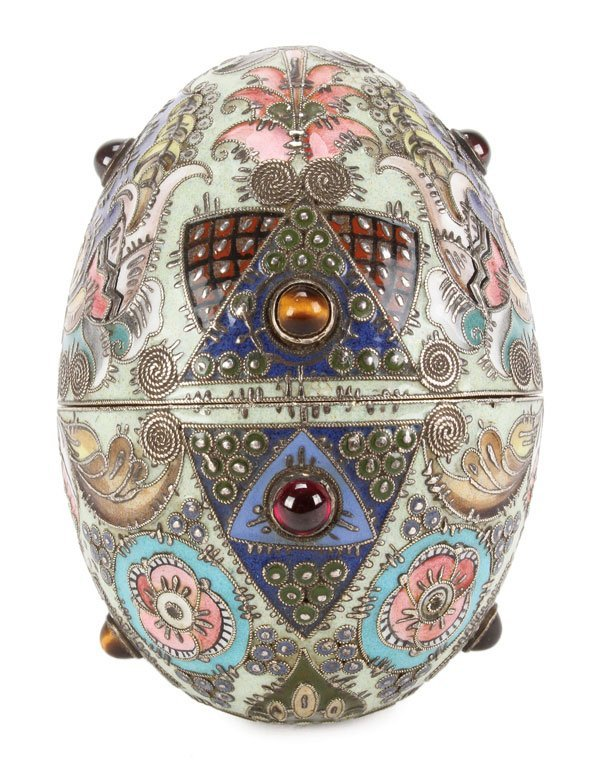 EXCEPTIONAL RUSSIAN ENAMELED EGG, FEODOR RUCKERT