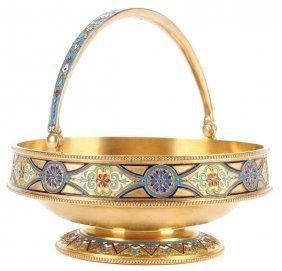 Russian Silver & Enamel Basket, Kuzmichev, 1885