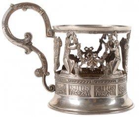 Russian Silver Tea Glass Holder, Khlebnikov