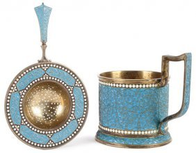 A Russian Silver Gilt And Enameled Tea Cup Holder