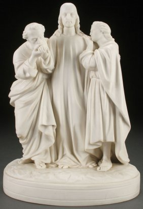 Rare Minton Parian Of Christ With Followers, 1860