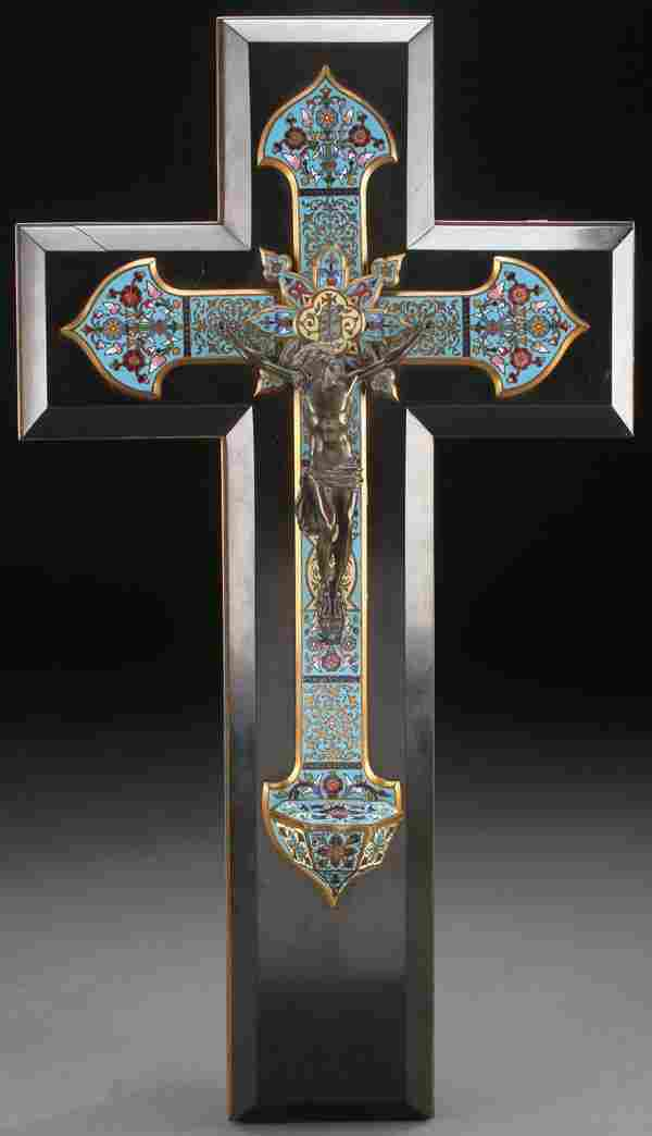 FRENCH ENAMELED CRUCIFIX HOLY WATER FONT
