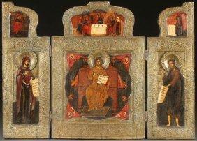 Russian Icon Triptych, 19th Century