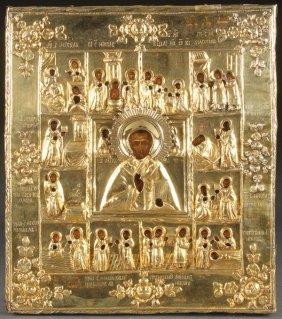 Russian Icon, St Nicholas And Life Scenes