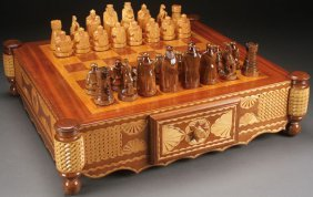 Russian Carved Wood Chess Set