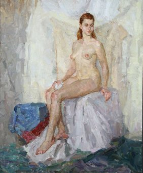 Pair Of Russian Female Nude Oil Paintings