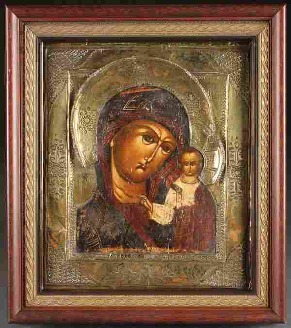 19TH CENTURY RUSSIAN ICON OF THE VIRGIN