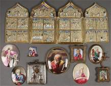 GROUP OF RUSSIAN ENAMELED ICONS C 17801880