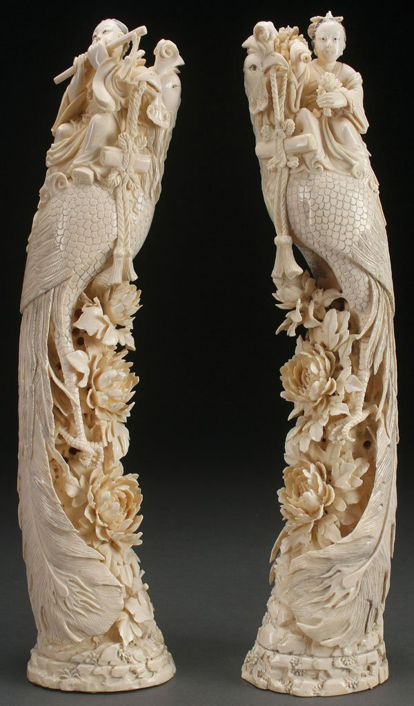 PAIR OF CHINESE FIGURAL CARVED IVORY TUSKS