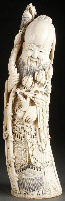 Chinese Carved Ivory Tusk, Circa 1920