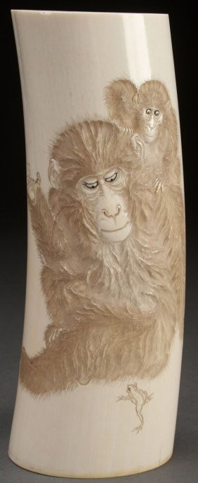 A Japanese Carved Ivory Okimono Of Primates
