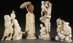 4 Japanese Carved Ivory Okimonos, Meiji