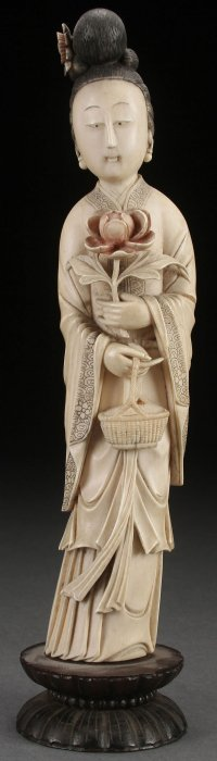 A Fine Chinese Carved Ivory Figure Of Kwan-yin