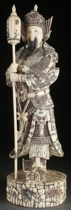 Chinese Carved Bone & Ivory Figure Of A Warlord