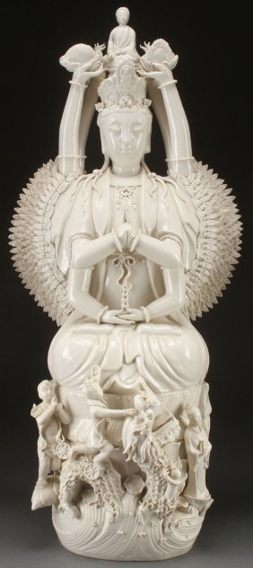 Chinese Palace Sized Blanc De Chine Buddha