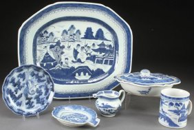 5 Pcs Chinese Export Canton Blue&white Porcelain
