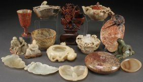 15 Pc Collection Of Chinese Carved Soapstone