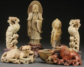 6 Pc Group Of Chinese Carved Soapstone