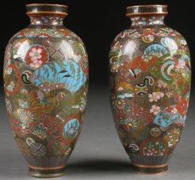 A Pair Of Japanese Cloisonn Bronze Vases, Meiji