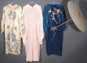 Three Chinese/japanese Embroidered Silk Robes