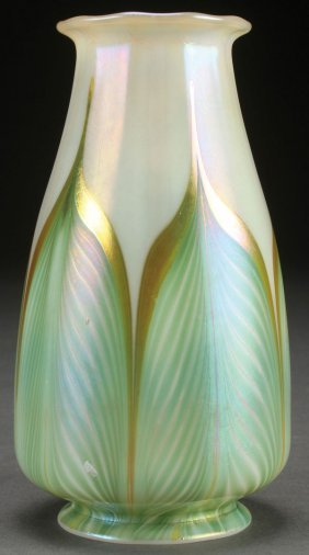 A Fine Quezal Art Glass Candle Shade