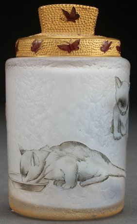 A Daum Nancy Enameled Cameo Glass Dresser Jar