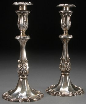 A Pair Of Continental Silver Candlesticks