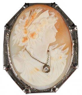 Victorian Diamond & Gold Mounted Cameo Brooch