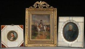 3 Napoleonic Hand Painted Ivory Mini Portraits