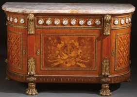 Louis Xvi Style Gilt Bronze Marquetry Cabinet