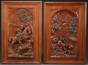 A Good Pair Of Northern Italian Carved Walnut Panels
