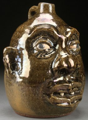 A Lanier Meaders Glazed Pottery Face Jug, Third Q
