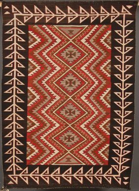"An Early Navajo Southwestern ""red Mesa Outline Rug"