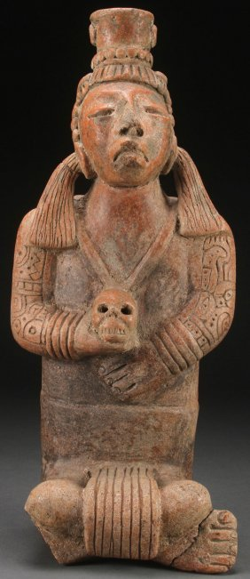 A Large Molded Clay Pre-columbian Style Seated Fi