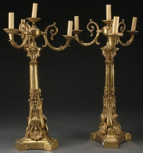 A Pair Of Victorian Gilt Bronze Candelabra. Eac