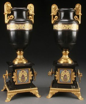 A Pair Of French Polished Slate Gilt Bronze And E