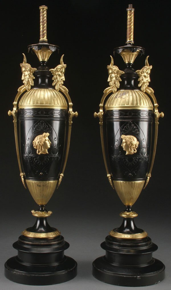 FRENCH GILT BRONZE AND ENAMELED NEO-CLASSIC URNS
