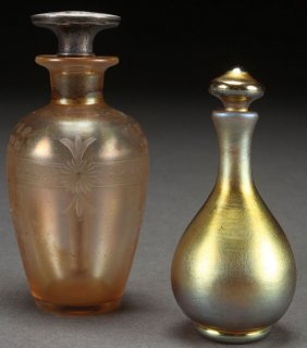 Two Steuben Perfume Bottles, Early 20th Century.