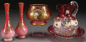 A FIVE PIECE GROUP OF BOHEMIAN ENAMELED GLASS