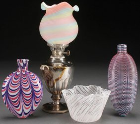 A Four Piece Group Of Art Glass, 19th/20th Centur