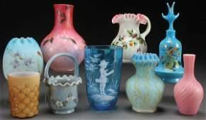 A NINE PIECE GROUP OF VICTORIAN ART GLASS.