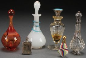 A Collection Of Six Art Glass Perfume Bottles,